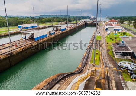 Gatun Locks, part of Panama Canal.