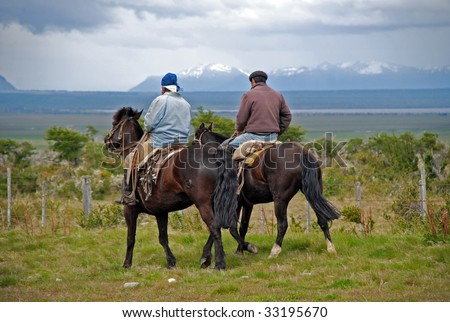 Gauchos in Patagonia - stock photo