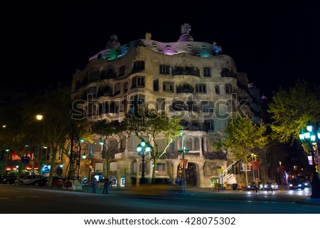 Gaudi Casa Mila at night. Barcelona