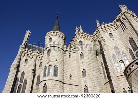Gaudi palace in  Astorga, Spain - stock photo