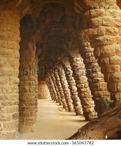 Gaudi's Parc Guell Columns in Barcelona. Spain. - stock photo