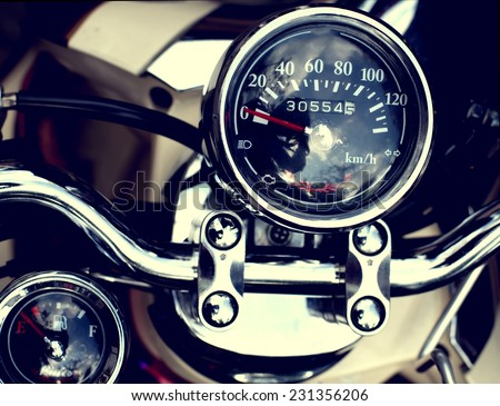 Gauges of vintage classic motorcycle - stock photo