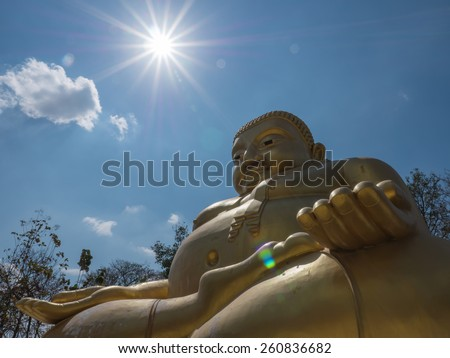 Gautama Buddha or Katyayana or Kasennen with sun ray in the background - stock photo