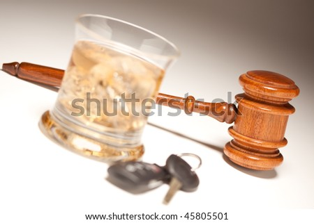 Gavel, Alcoholic Drink & Car Keys on a Gradating to White Background - Drinking and Driving Concept. - stock photo