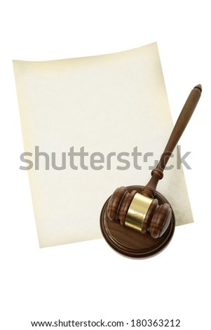 Gavel and blank paper - stock photo