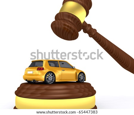 Gavel and car - 3d render - stock photo