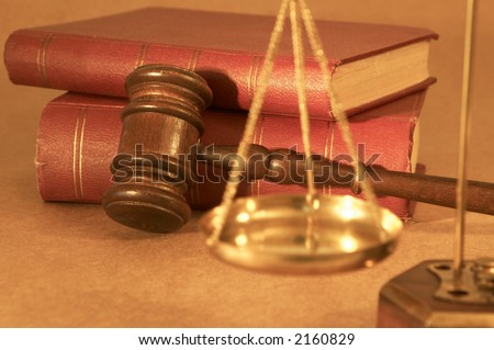 gavel and old rusty books, shallow dof