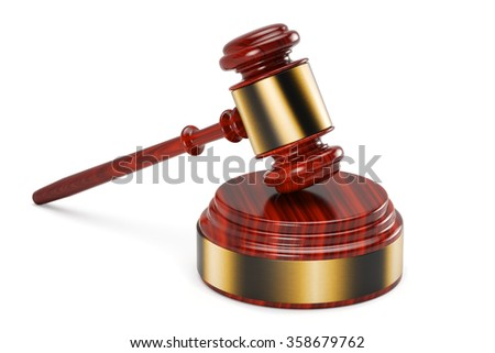 Gavel and sound block over white background - stock photo
