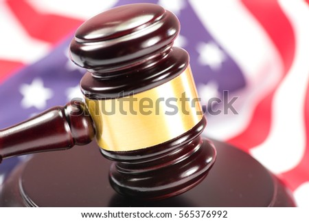 Gavel and the American national flag