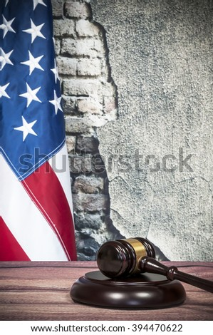 Gavel and USA flag - stock photo