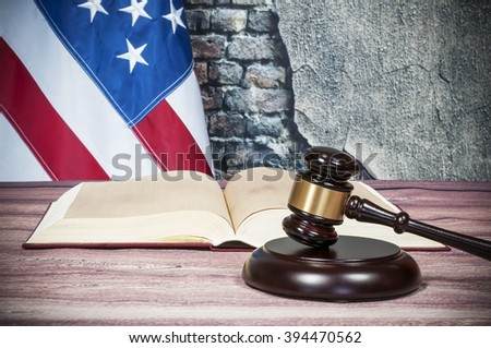Gavel , book and USA flag - stock photo
