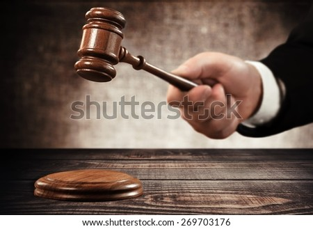 Gavel, court, law. - stock photo