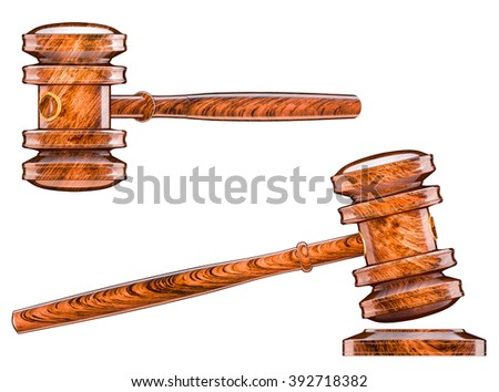 Gavel hammer, court of law, auction symbol - stock photo