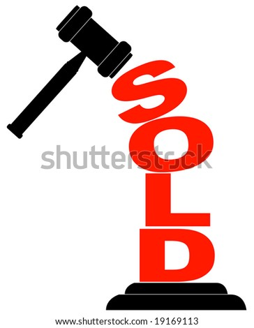 gavel hitting the word sold isolated on white - stock photo