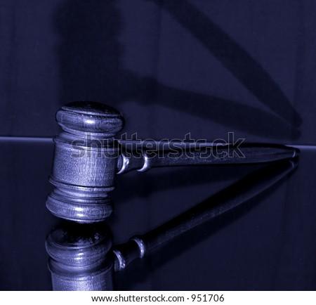 gavel in blue - stock photo