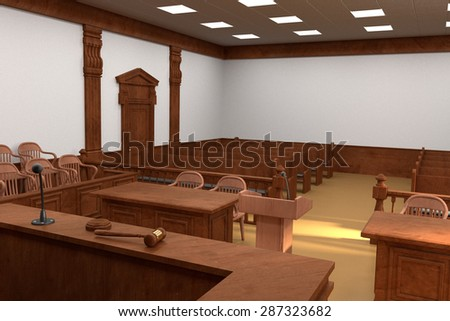 gavel in courtroom - stock photo