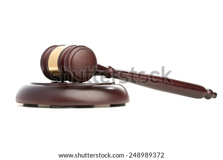 Gavel isolated on white background - stock photo