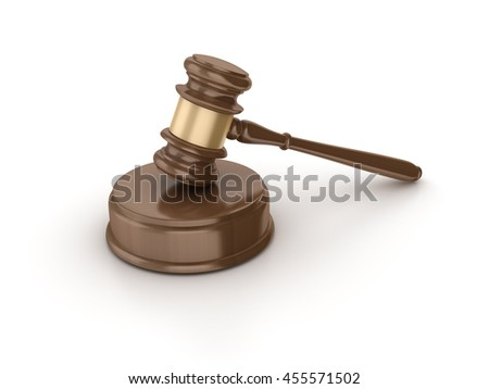 Gavel on White Background - High Quality 3D Rendering