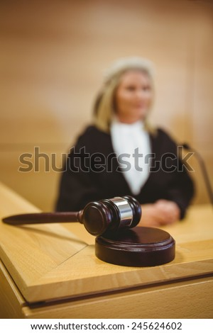 Gavel resting on sounding block in the court room - stock photo