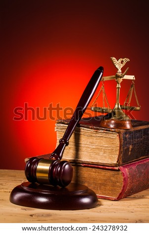 gavel, scales of justice and old book