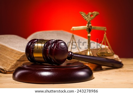 gavel, scales of justice and old book - stock photo