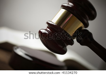 gavel, selective focus on metal part,toned f/x - stock photo