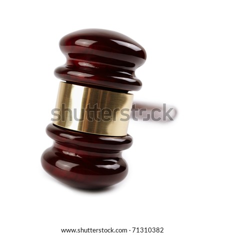 gavel , selective focus on  nearest metal part