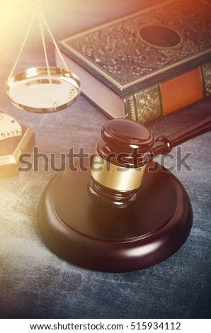 Gavel with books on grunge background. law gavel lawyer book wooden court attorney judgement concept