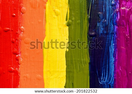 Gay and  LGBT flag. Gay culture symbol. Handmade. Textured, made with acrylic paint and canvas. Raster. - stock photo