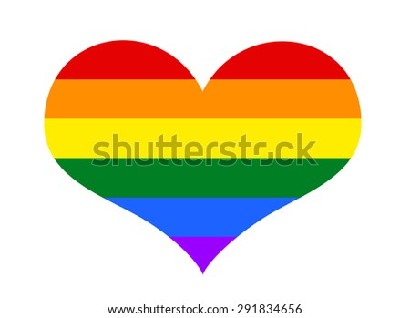 Gay and LGBT rainbow flag heart, culture symbol. isolated on white - stock photo