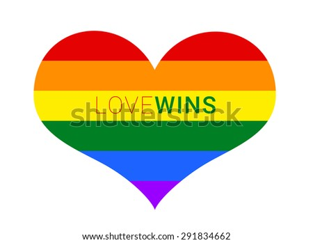 Gay and LGBT rainbow flag heart, culture symbol. love wins. isolated on white - stock photo