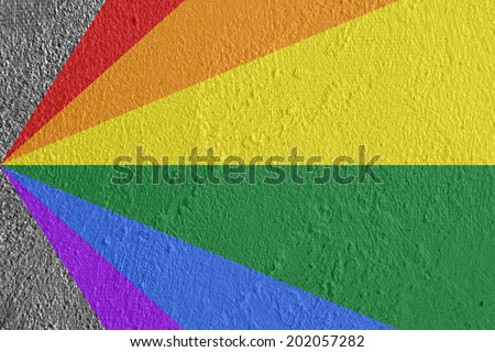 Gay and  LGBT rainbow flag pattern culture symbol. Handmade. Textured, made with acrylic paint and canvas. - stock photo