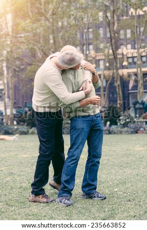 Gay Couple at Park in New York - stock photo