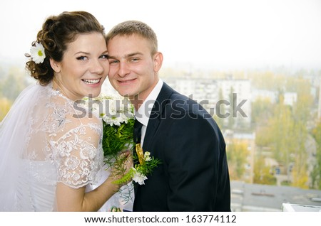 gay couple in the apartment on the day of the wedding - stock photo