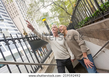 Gay Couple Visiting New York City - stock photo