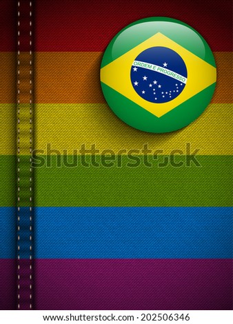 Gay Flag Button on Jeans Fabric Texture - stock photo