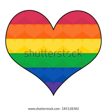 Gay Flag Colors in Heart Shape; Rainbow flag; GLBT symbol - stock photo