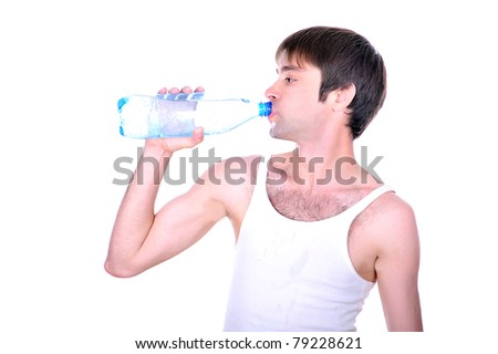 gay looking guy in a vest holding a bottle of sparkling clean water, isolated over white image, - stock photo