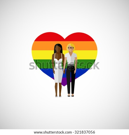 gay marriage flat illustration. homosexual lesbian couple on the rainbow heart background. love wins - stock photo