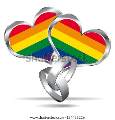 Gay marriage symbol with white gold rings. - stock photo