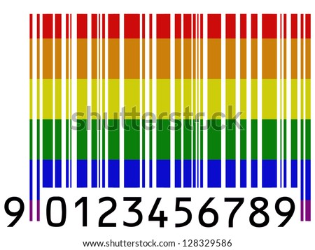 Gay pride flag painted on barcode surface stock photo