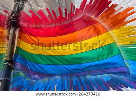Gay Pride Rainbow Flag Extrusion - stock photo
