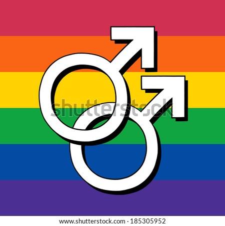 Gay Rainbow Flag With Male Symbol - stock photo