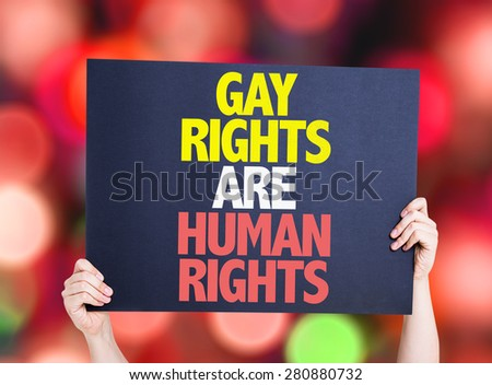Gay Rights Are Human Rights card with bokeh background - stock photo