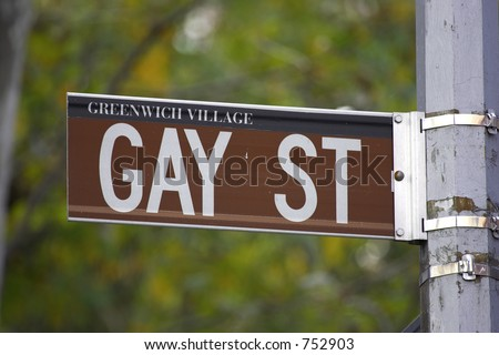 Gay street sign, greenwich village, lower manhattan, New York, America, USA
