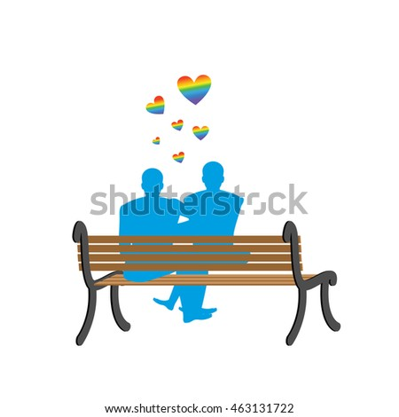 Gays on bench. Appointment of two blue men. Romantic LGBT illustration.