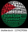 Gaza capital city of Palestine info-text graphics and arrangement concept on black background (word cloud) - stock