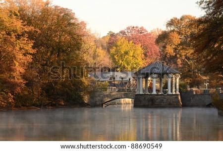 Gazebo at Lake Meer in Piedmont Park in Atlanta, Georgia. - stock photo
