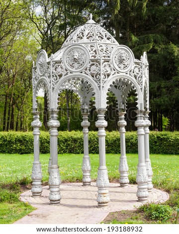 Gazebo in summer garden, oriental style - stock photo