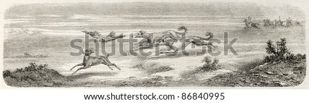 Gazelle hunting in Great Salt Desert, Persia, with falcon and kurdish greyhound. Created by Laurens, published on L'Illustration, Journal Universel, Paris, 1860 - stock photo